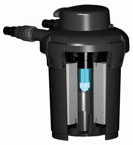 Filtre sous pression pour bassin pondopress set 5000 pontec for Pompe x laghetti