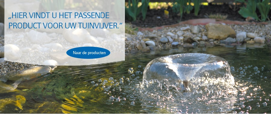 Pontec producten voor fonteinen, beeklopen en vijvers